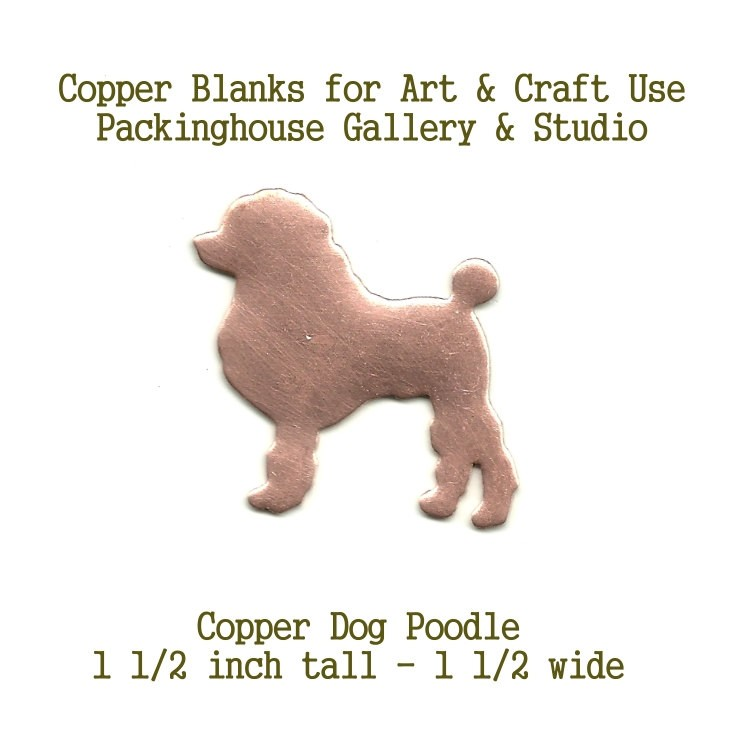 Poodle Dog, copper blank metal cut out made of copper for metal working, enameling and jewerly making